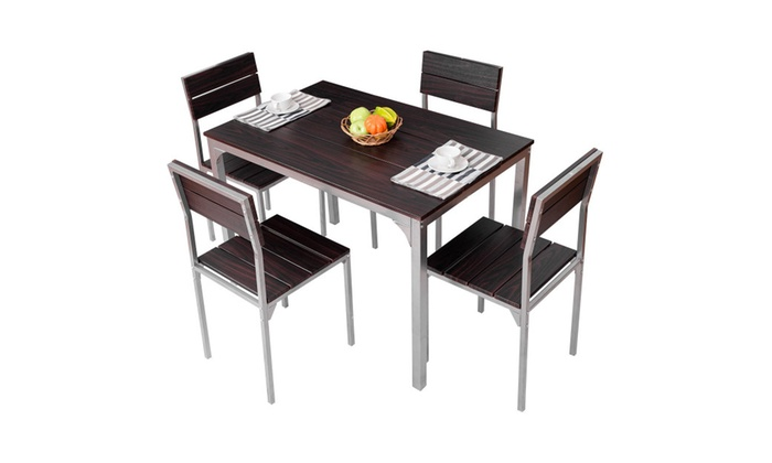 5 piece dining table set w 4 chairs wood metal groupon for Dining table set deals