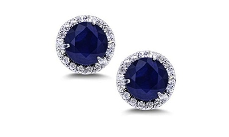 14k White Gold 2 Ct Round Blue Sapphire Halo Stud Earrings