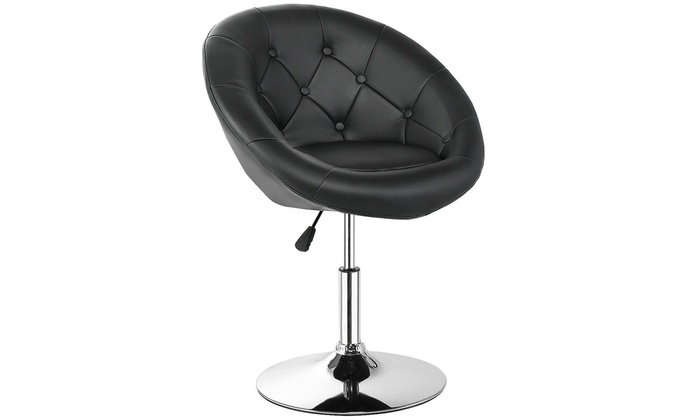 Cool 1Pc Adjustable Modern Swivel Round Tufted Back Accent Chair Forskolin Free Trial Chair Design Images Forskolin Free Trialorg