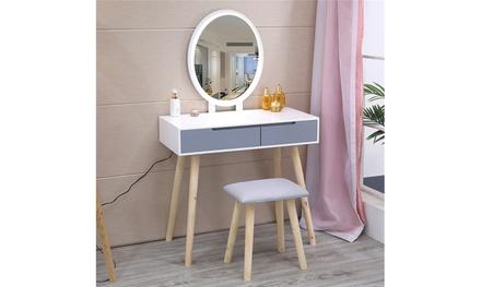 Ktaxon Vanity Table Set,Makeup Table, Bedroom Wood Dressing Table