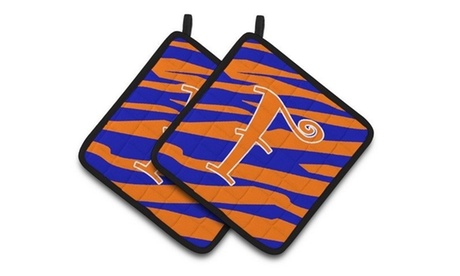 Carolines Treasures CJ1036-FPTHD Monogram Initial F Tiger Stripe Blue & Orange P photo