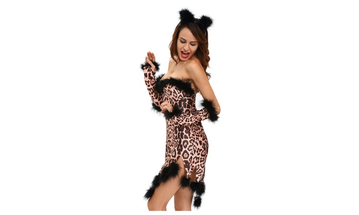 Women's Fluffy Leopard Costume Set