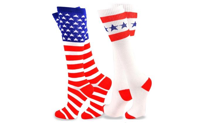 728d2f738d TeeHee American Flag Women's Knee High Socks 2-Pack (Stars & Stripes ...