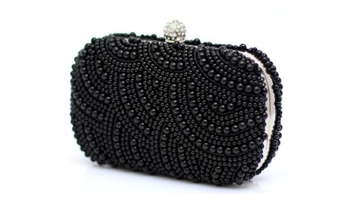 Evening Bag Noble Elegant Pearl Clutch Shoulder Bags – black