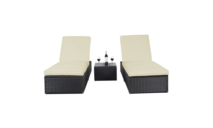 Sensational Outdoor Patio Chaise Lounge Chair Wicker Rattan 3 Piece Black Alphanode Cool Chair Designs And Ideas Alphanodeonline