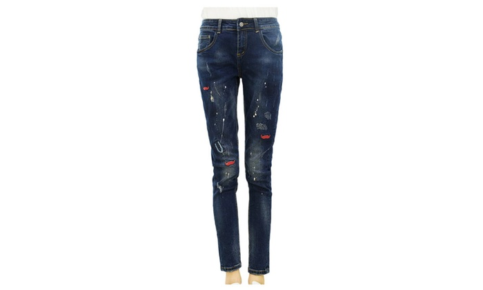 Women's Straight Leg Mid Rise Korean Graphic Buttons Up Jeans