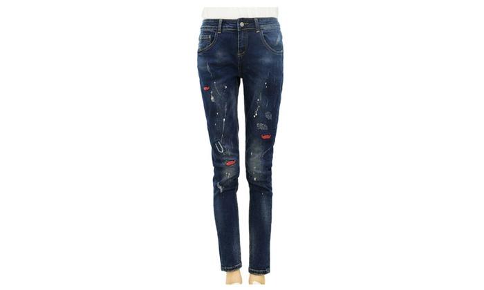 Women's Straight Leg Mid Rise Korean Graphic ButtonsUp Jeans