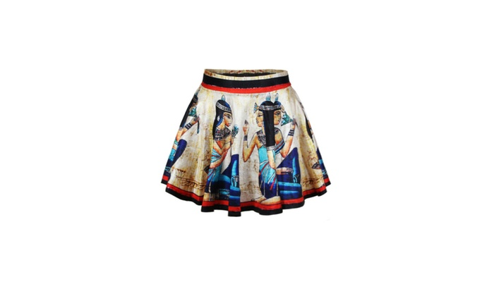 Women's Roman Women Image High-waisted Pleated Skirt - one size