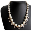 Pearl Simulated Choker Statement Necklace for Women