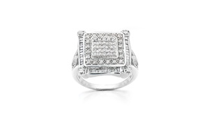 1CTTW Diamond Square Shaped Ring in Sterling Silver