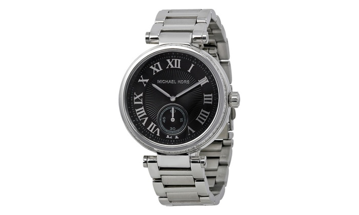 34d9249acd9 Michael Kors Women s Silver Skylar Black Face Watch 42mm MK6053 ...