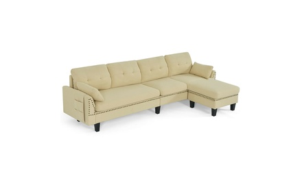 Costway Convertible Sectional Sofa Couch 4-Seat L-Shaped Couch