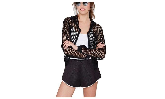 chalmart: Stylebek Women's Fashion Solid Hi-low Cut Out Hooded Cardigan