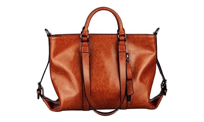 Oil Leather Pu New Women Handbag Shoulder Bag Tote Vintage Satchel Bag - Brown / x
