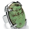 Oval Shape Green Genuine Turquoise Silvertone Cocktail Ring
