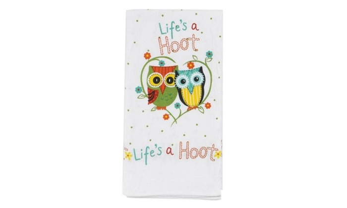 Kay Dee Designs R1233 Life Is A Hoot Flour Sack Kitchen Towel