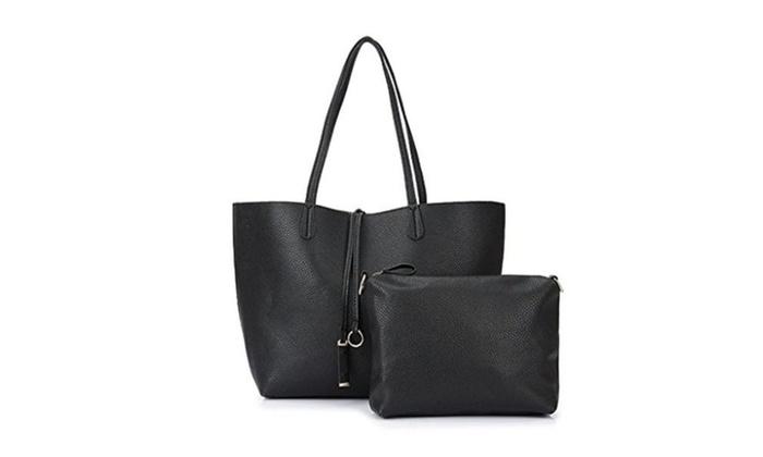 Garden Promo Women Shoulder Bag 2 Piece Tote Bag Pu Leather Handbag Purse Bags Set