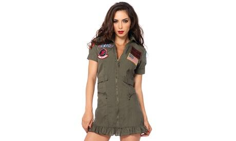 Leg Avenue Women's Top Gun Flight Dress Sexy Maverick Pilot Halloween Costume