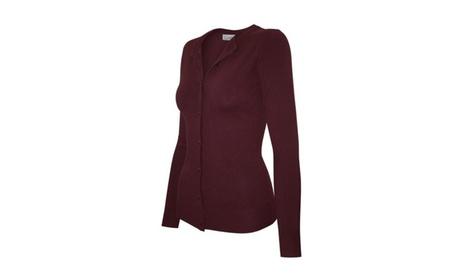 Women's Round Neck Sweater Cardigan Top 41e9c59a-7986-457b-a05a-96c0e1a68ccc