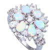 White Fire Opal 925 Sterling Silver Cubic Zirconia Women's Ring