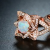 18K Rose Gold & Fire Opal Flower Ring Set By Peermont