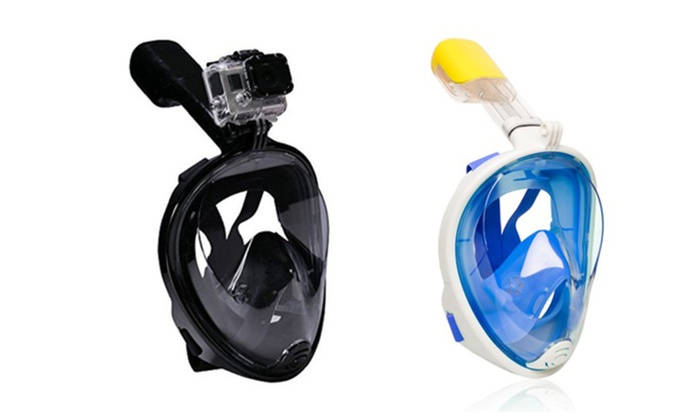 3b7ba57dc2cd Dry Dive Full Face Breathefree Snorkel Mask with Gopro Mount