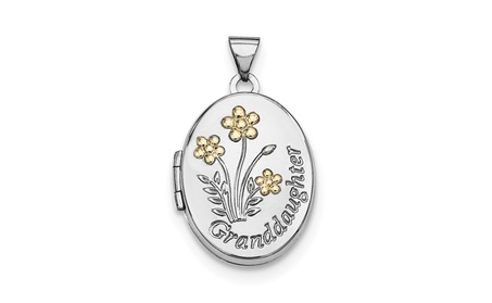 Sterling Silver w/ 14k Gold-plated 21mm Oval Granddaughter Locket bdea02db-c9d8-49f4-b544-2153ac6a3d35