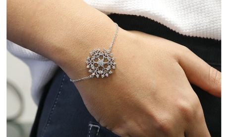 Snowflake Crystal Bracelet Made With Crystals From Swarovski