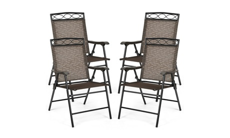 Costway Set of 4 Patio Folding Chairs Sling Portable Dining Chair Set w/ Armrest