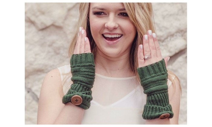 Knitted Button Fingerless Gloves - 4 Colors!