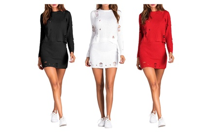 Women 2pcs Holes Knit Outfits Long Sleeve Tops+Club Party Dress Set c45c2e2d-adb0-4a85-8350-56609b8c2a17