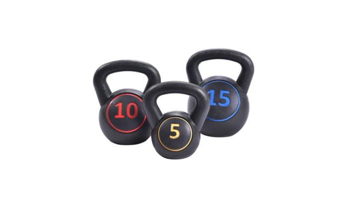 Charles Lechero:  Vinyl Kettlebell Kit Body Muscles Training Weights 5 10 15lbs Set
