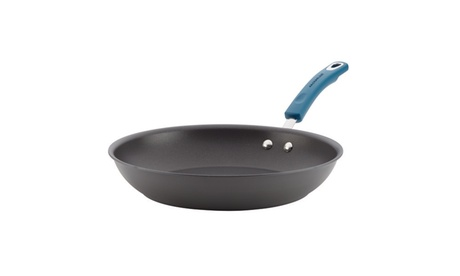 """Rachael Ray Hard-Anodized Nonstick Skillet 12.5"""" Gray w Marine Blue 8120ae32-d097-4666-9d9a-298cd5e38374"""