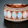 18K Rose Gold & Fire Opal Oval-Cut Band Ring