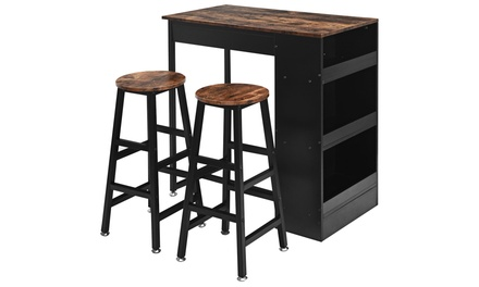 Costway 3 Pieces Bar Table Set Industrial Counter with Storage
