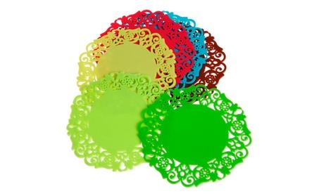 Lace Flower Doilies Silicone Coaster Tea Cup Mats - 4 Pcs f55b01df-199f-47f5-ba36-b974d21de692