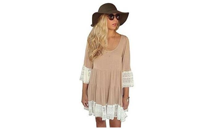 Women Sleeve Lace Splice Loose Tunic Dress