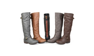 685df9262a53 Journee Collection Womens Wide-Calf Studded Knee-High Riding Boots