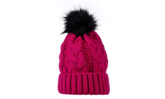 Womens Pom Pom Beanie Hat Winter Cable Knit Hat Warm Cap 3