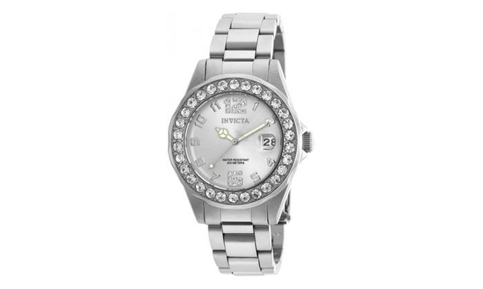 Allurez com: Invicta 21396 Silver Dial Pro Diver Quartz 3 Hand Womens Watch