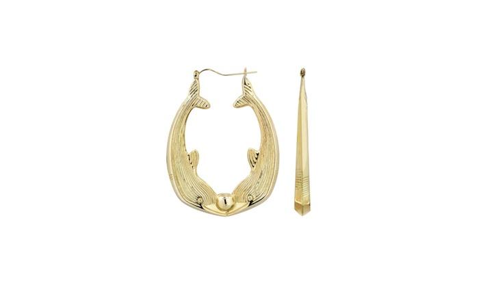 10k Gold Dolphin Hoop Earrings Customizable Size