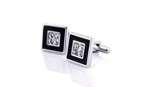 Zodaca Cufflink , Black/ Silver Square with 4 Jewels