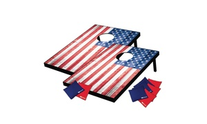 US Flag-Themed 2'x3' Cornhole Tailgate Toss Set (10-Piece)