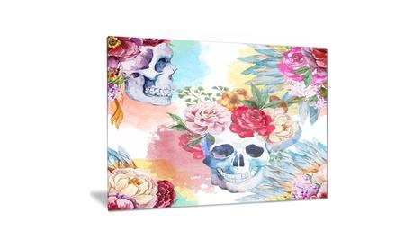 Ethnic Skull with Flowers Floral Metal Wall Art 28x12 36f641e0-7b3a-4da1-bc24-03fdb248d23a