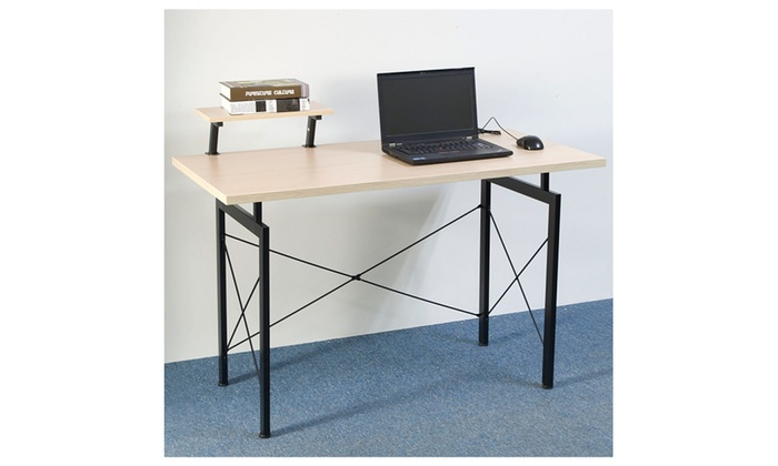 Concise Computer Desk With Top Shelf Home Office Furniture Beech