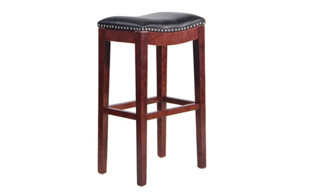 2pcs Solid Wood Indoor/Outdoor Square Bar Stool 1 Pair Set eda5fcc1-770a-4de5-9190-cbb0da2da2c5