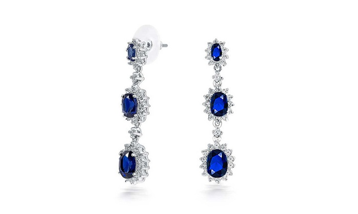 Bling Jewelry: Bling Jewelry Simulated Sapphire CZ Dangle Earrings Rhodium Plated