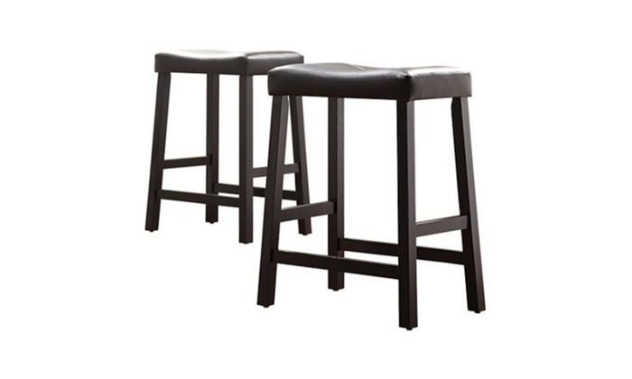 24 Counter Height Saddle Stools Set Of 2 Black Groupon