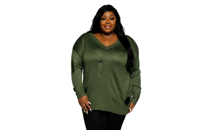 Xehar Womens Plus Size Distressed Ribbed V Neck Pullover Sweater