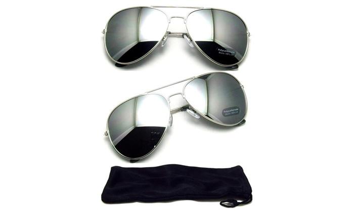 Aviator Vintage Silver Mirror Lens Sunglasses